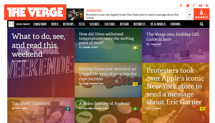 dark homepage the verge magazine layout