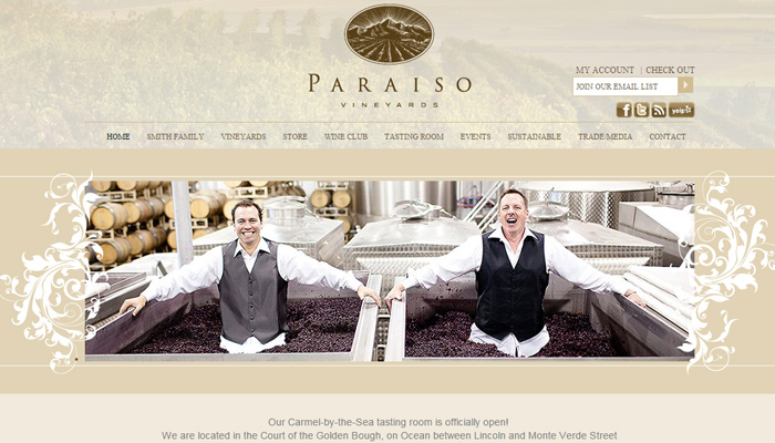 paraiso vineyards golden layout homepage