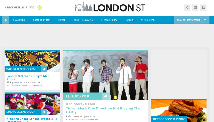 londonist website magazine clean layout responsive