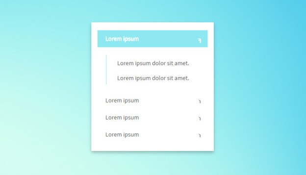 multi colored shiny sleek accordion menu ui