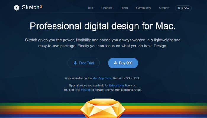 sketch landing page ghost button