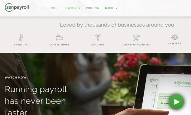 zenpayroll website homepage layout