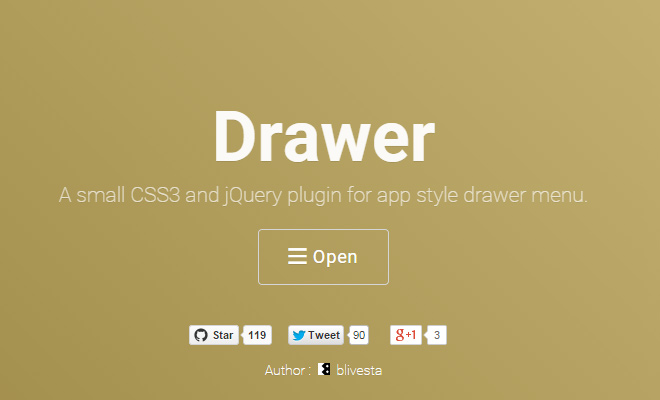 drawer css3 jquery plugin ui