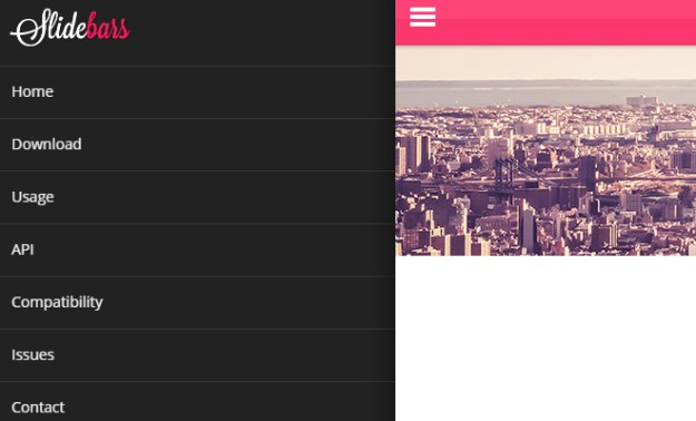 slidebars free jquery hamburger nav plugin