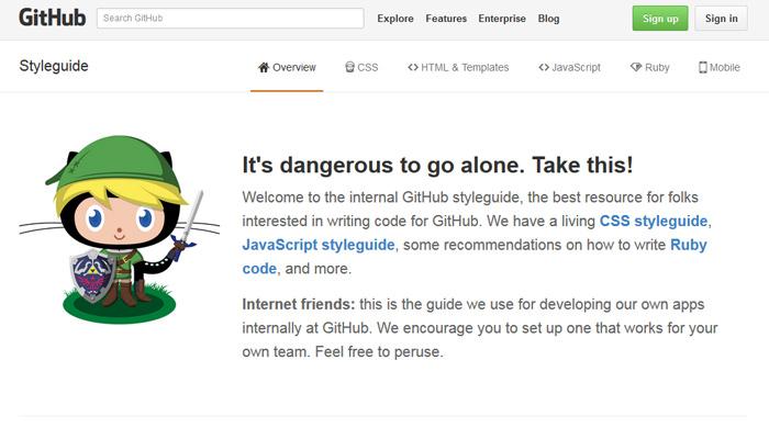 github styleguide website design