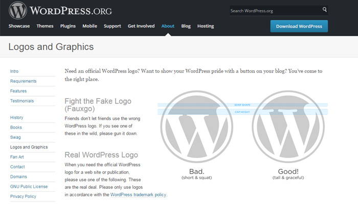 wordpress logo branding page design