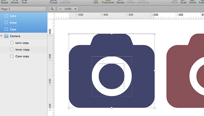 sketch howto group layers icons