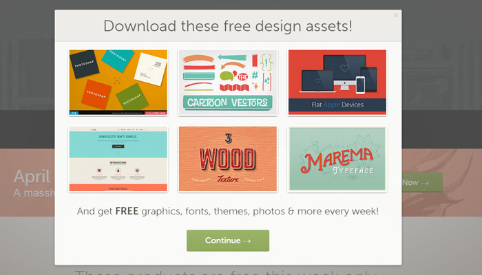 creative market modal window