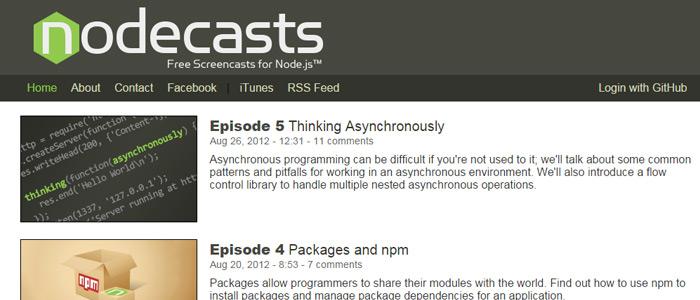 nodecasts nodejs free webcasts screencasts