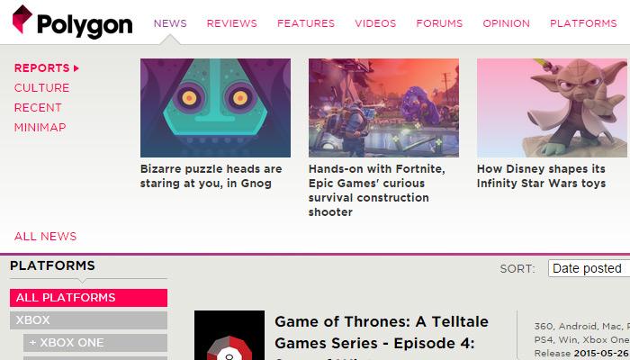 polygon gaming magazine meganav dropdown