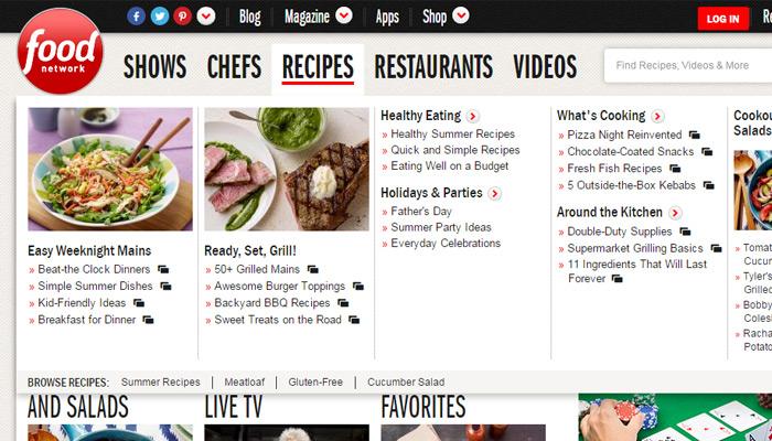 food network navigation menu meganav