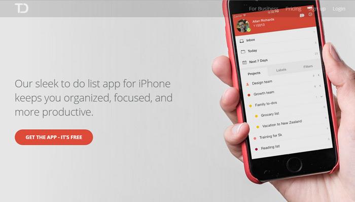 todoist app page design