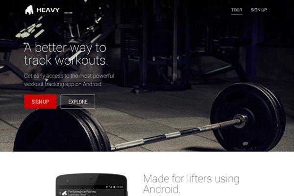 heavy bodybuilding app mobile landing page