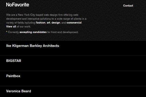 nofavorite custom web design firm homepage