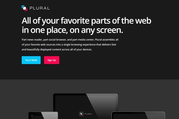 plural app news reader dark website homepage