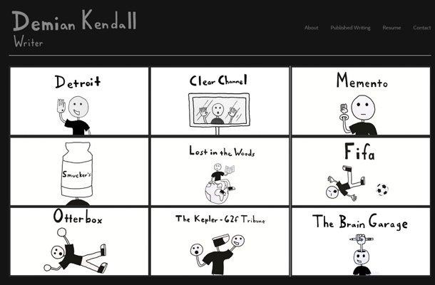 demian kendall website copywriter portfolio layout