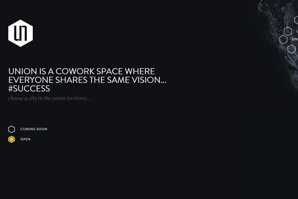 union cowork space dark simple website homepage