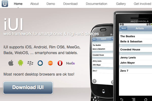 iui open source mobile framework design webapps homepage