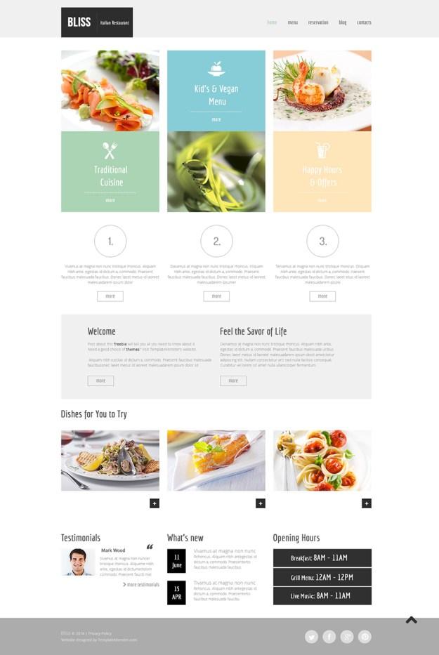 Free HTML5 Theme for Restaurant Website