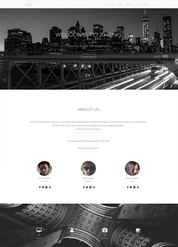 Free HTML5 template - Zheng