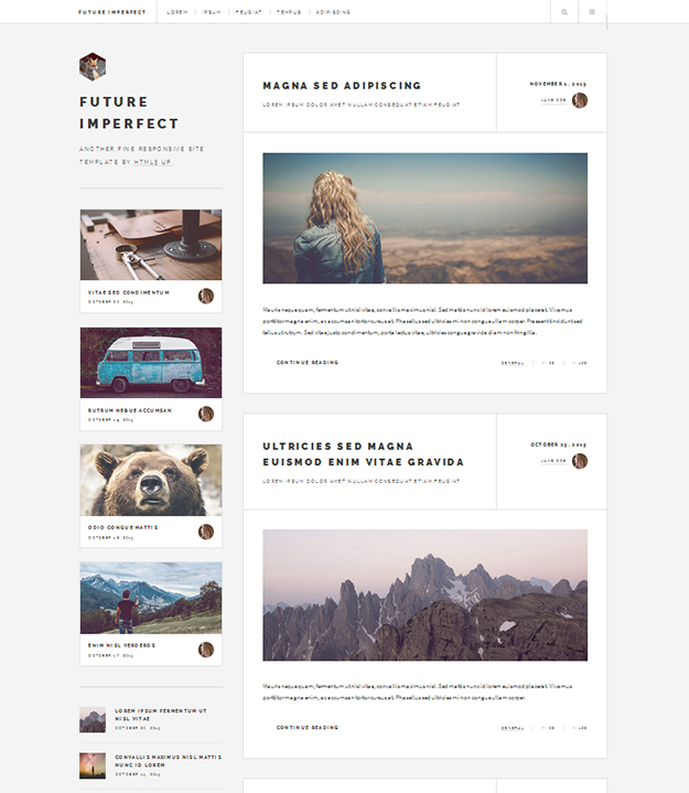 Future Imperfect - free HTML5 Website Template
