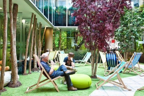 Open seating area at Google's London Campus