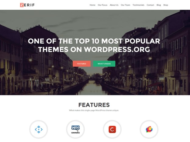 Zerif-Lite - one of 20 free wordpress themes for business consultants