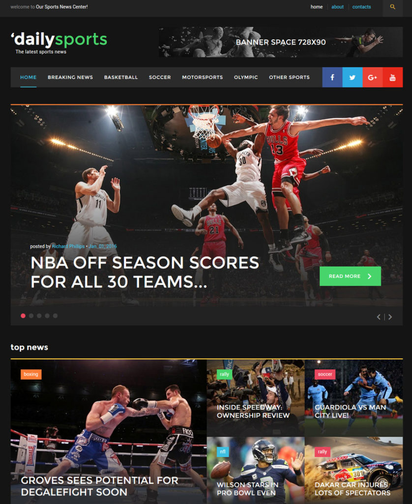 dailysports - one of the best multipurpose website templates