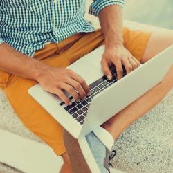 freelance web designer working outdoors