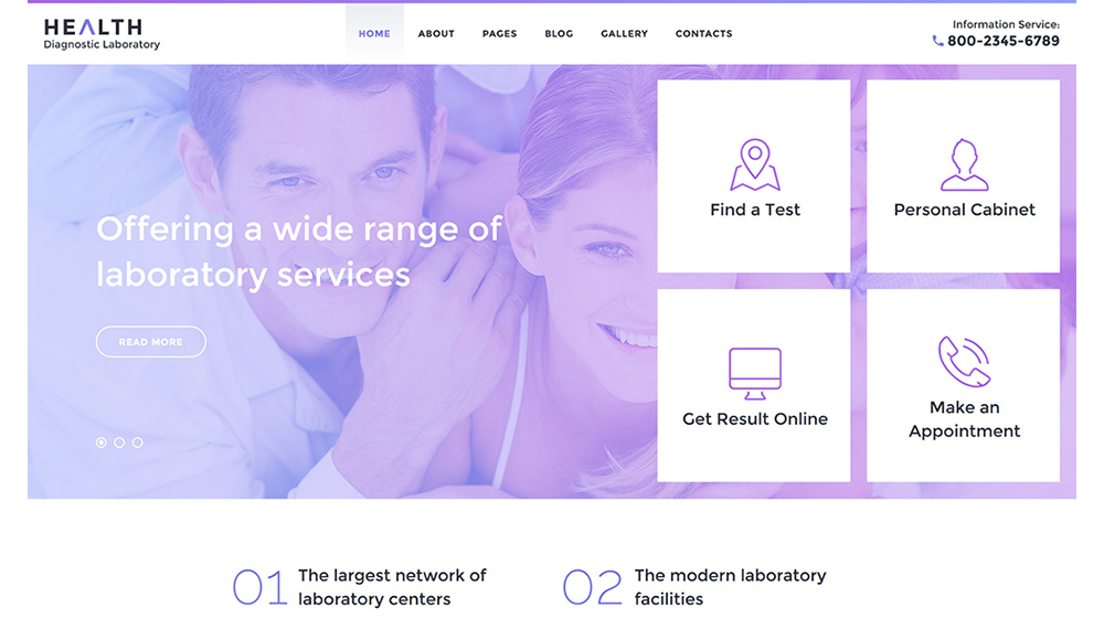 Health Diagnostic Laboratory Joomla 3 Template