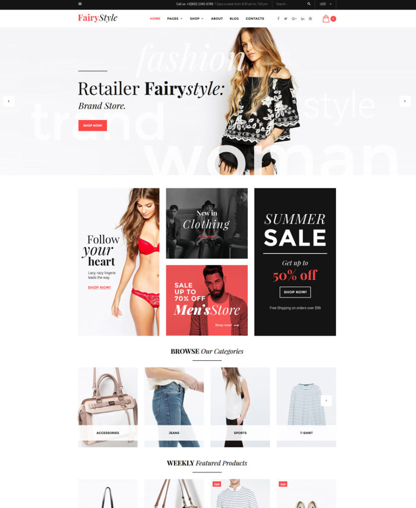Fairy Style WooCommerce Theme - responsive eCommerce templates