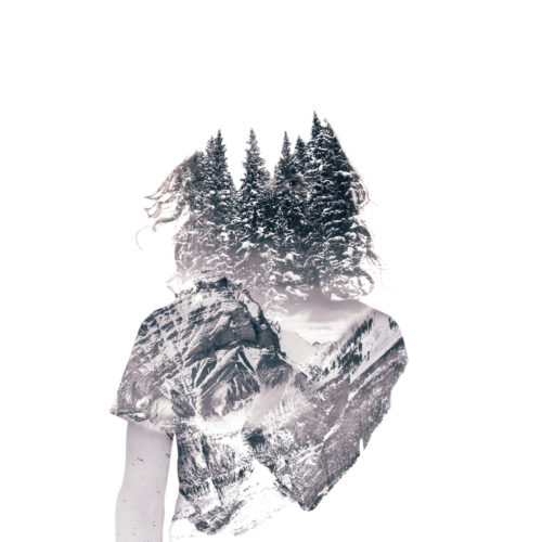 Monochromatic conceptual collage of a man inhabited by a feeling of wilderness. His body is made of successive layers of mountains, trees and birds. His eye is visible through the trees.