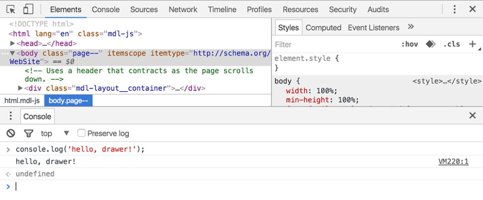 chrome console logging in browser
