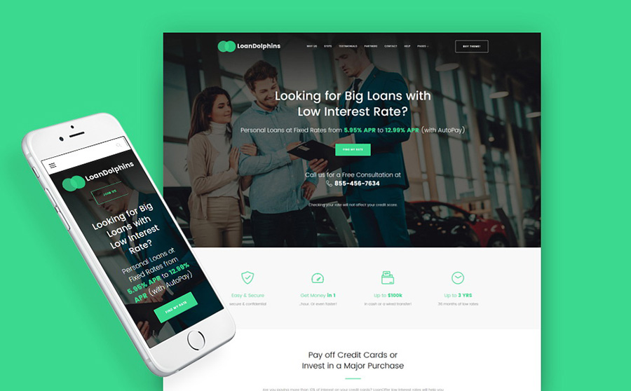 Loan Dolphins - Loan Company One Page WordPress Theme