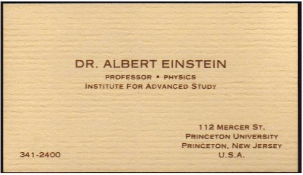 Albert Einstein's Business Card