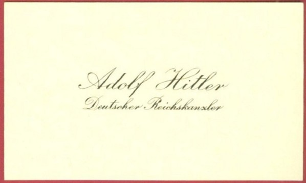 Adolf Hitler's Business Card