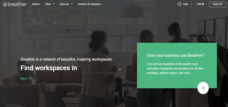 breather landing page