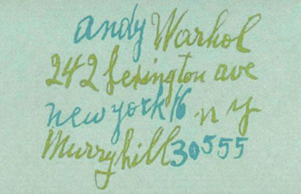 Andy Warhol Business Card