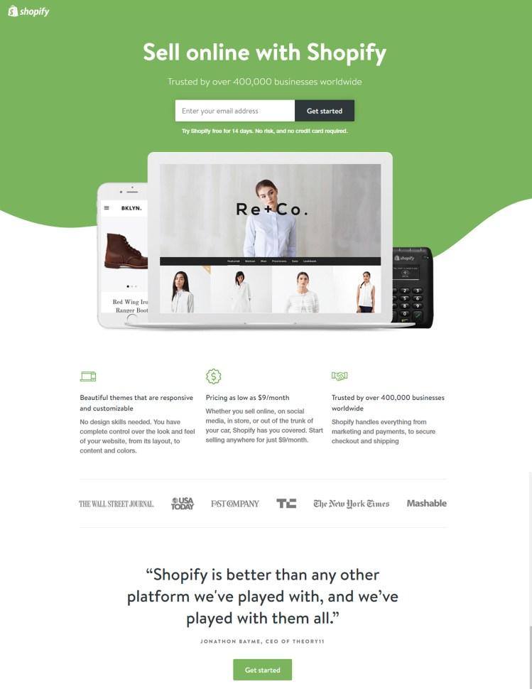 shopify landing page