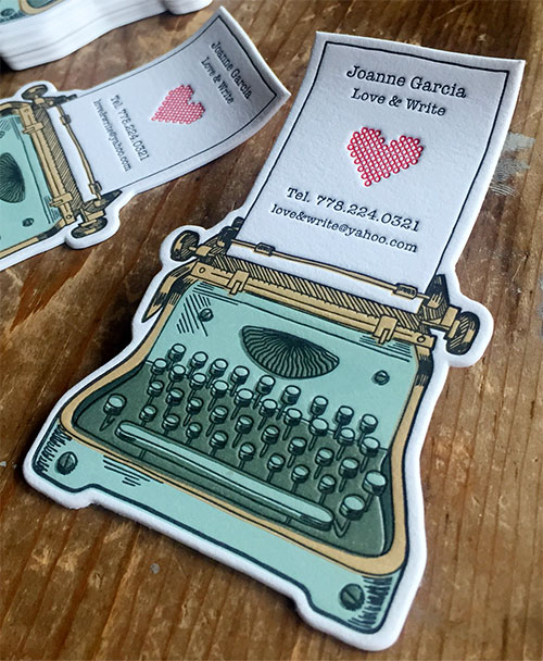 17 great letterpress business cards that define past and present typewriter business card reheart Choice Image