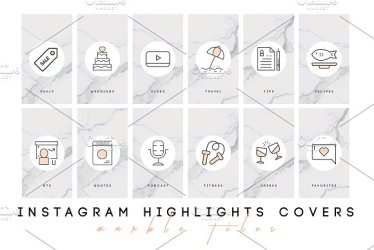 highlight instagram marble icon covers stories icons sets tiles graphics bloggers brilliant brands creative atelier