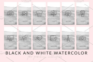 instagram highlight covers icon watercolor grey highlights sets pack bloggers brilliant brands graphics icons story