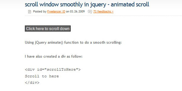 Scroll window smoothly in jQuery – Animated scroll