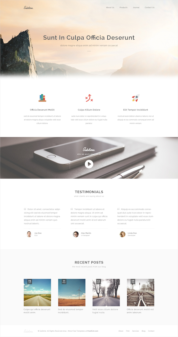 Sublime Free Clean & Stunning HTML5 CSS3 Website Template