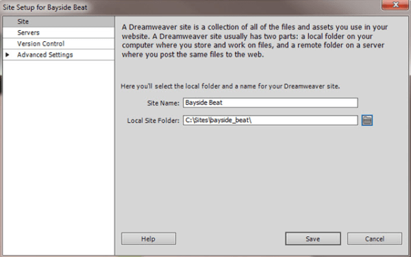 Setup your Dreamweaver site and project files