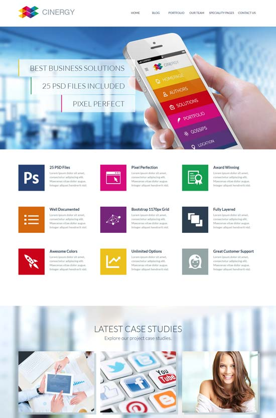20 free premium business website templates cinergy modern business html template friedricerecipe Choice Image