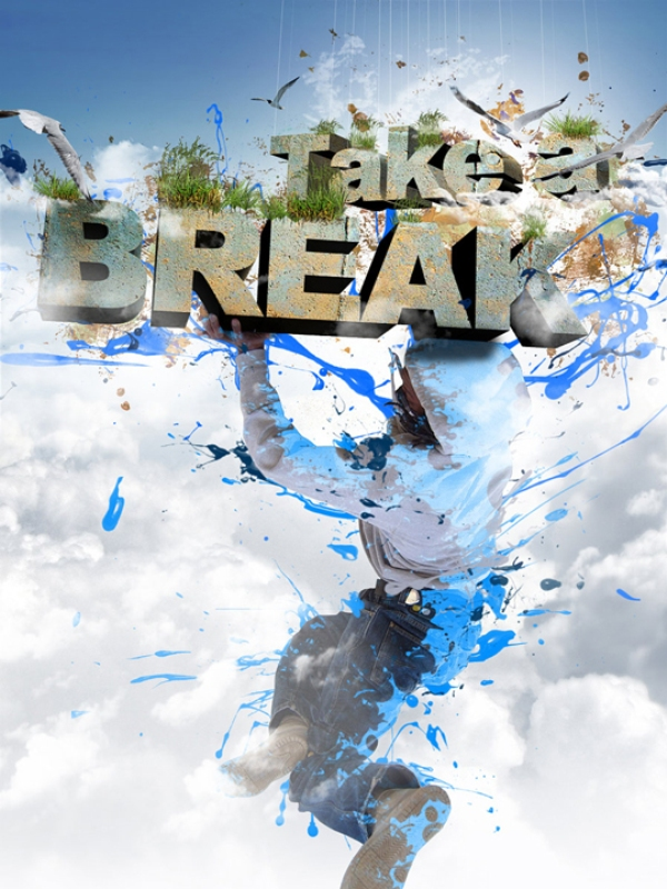 "Create ""Take a Break"" 3D Text Composition"