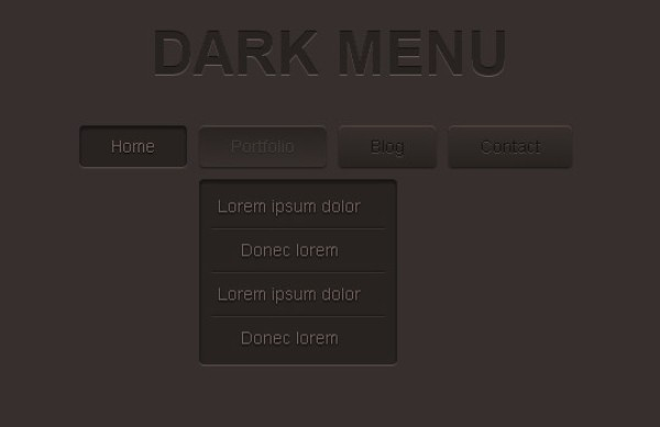 Dark Menu Pure CSS3 Two Level Menu