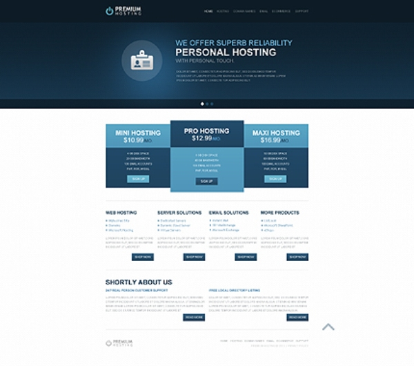 Deep Safe Blue Hosting Website Template