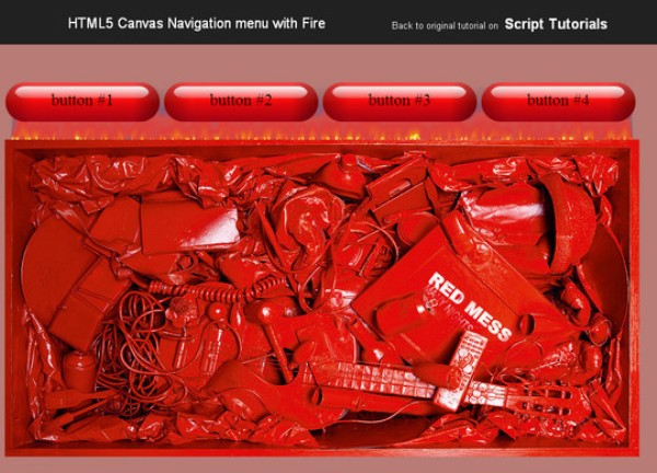 HTML5 Canvas Navigation menu with Fire